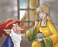 Rumpelstiltskin and young princess. Rumpelstiltskin the evil elf is talking with a princess in an ancient room. Digital illustration for Grimms fairy tale Stock Images