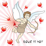 Evil eros. Young cupid has evil ideas for this valentines royalty free illustration