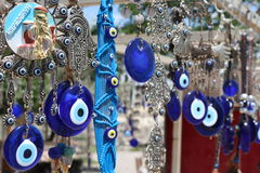 Evil eye. Charms hang from a bare tree in Cappadocia, Turkey royalty free stock image