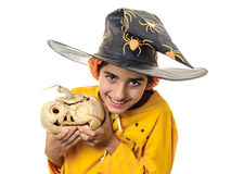 Evil eye child in Halloween outfit Stock Images