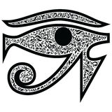 Evil Eye with floral elements in black  and white tattoo style , Middle Eastern Religious  amulet providing  protection against ev Stock Images