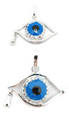 Evil eye pendant with teardrop. 2 perspectives of an evil eye pendant isolated on white Royalty Free Stock Image