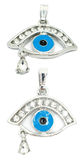 Evil eye pendant with teardrop. 2 perspectives of an evil eye pendant isolated on white Royalty Free Stock Photos