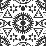 Evil Eye Seamless Pattern. A seamless black and white evil eye pattern with geometric details Royalty Free Stock Image