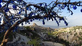 Evil Eye Tree Overlooking Uchisar Castle, Cappadocia royalty free stock image
