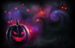 Evil face black pumpkin on mystic red and violet backdrop with magic lights and owl eyes in fog. Vector Halloween poster. And flyer background stock illustration