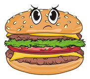 Evil face of burger. Angry face of burger ona white background Royalty Free Stock Photo
