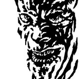 The evil face of the killer maniac watching his victim. Vector illustration. Genre of horror. Scary character head for halloween Stock Image