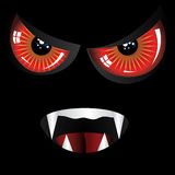 Evil face with red eyes vector illustration