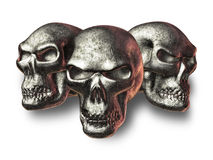Evil Fantasy Skulls. 3d render - object - foiled metal fantasy skulls Royalty Free Stock Photos