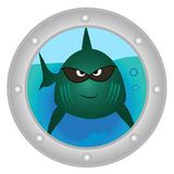 Evil fish looks in to porthole. Of the boat Stock Image