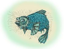 Evil fish.Thick angry fish. Fish in a bad mood, evil and wild. Drawing in cartoon style Stock Images