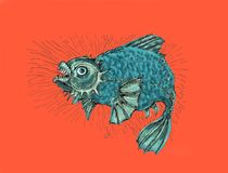 Evil fish.Thick angry fish. Fish in a bad mood, evil and wild. Drawing in cartoon style Royalty Free Stock Images