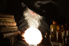 Evil future. Fortune teller looking into the future at halloween Stock Photo