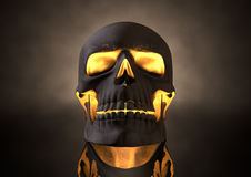 Evil Glowing Skull Front. A front view of a dark human skull with glowing orange insides on adark eerie background Royalty Free Stock Photos