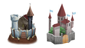 Evil and good castles. Isolated vector illustration