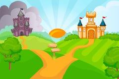Evil and good fairytale castles vector illustration