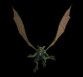 Evil green flying dragon Stock Photos