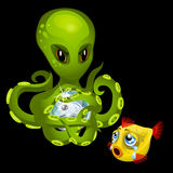 Evil green octopus with magic sphere and goldfish Royalty Free Stock Image