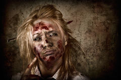 Evil grunge zombie business woman thinking idea Stock Images