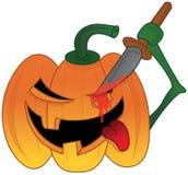 Evil Halloween Pumpkin Carving Monster. Royalty Free Stock Photos