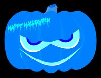 Evil Blue Halloween Pumpkin. Evil halloween pumpkin over a black background Royalty Free Stock Photography