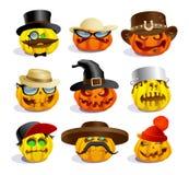 Evil halloween pumpkins, cartoon personages, crazy pumpkin symbols set royalty free illustration