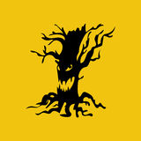 Evil halloween tree. With scary smile. Vector illustration Stock Photo