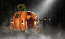 Evil Halloween Witch, Pumpkin House royalty free illustration