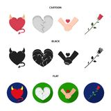Evil heart, broken heart, friendship, rose. Romantic set collection icons in cartoon,black,flat style vector symbol. Stock illustration Royalty Free Stock Photos