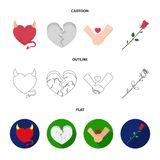 Evil heart, broken heart, friendship, rose. Romantic set collection icons in cartoon,outline,flat style vector symbol. Stock illustration Stock Photography
