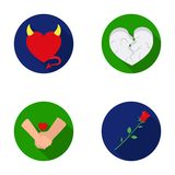 Evil heart, broken heart, friendship, rose. Romantic set collection icons in flat style vector symbol stock illustration Stock Photo
