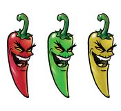 Evil hot chili peppers. Cartoon illustration of evil looking hot chili peppers Stock Images