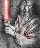 Evil jedi wearing mask - sketch Stock Photo