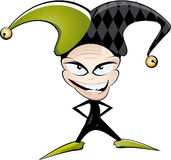 Evil joker illustration. Illustration of a smiling joker dressed in green and black with an evil expression, isolated on a white background Royalty Free Stock Photos