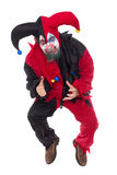 Evil jumping Jester,  on white, concept Horror and Hallo Stock Images