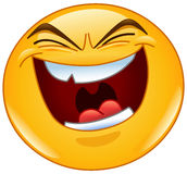 Evil laugh emoticon. Vector design of an emoticon with evil laugh Stock Photos