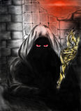 Evil mage. Pencil drawing of an evil mage with red eyes. He wears dark hood and a golden staff Royalty Free Stock Photography