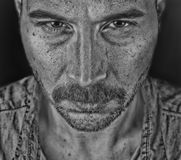 Evil man black and white close up portrait Royalty Free Stock Photos