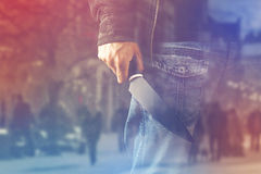 Evil man hold shiny knife, killer in action Royalty Free Stock Images