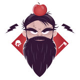Evil man with a long beard and an apple on his head Stock Photo