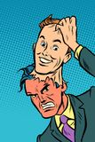 Evil man mask good man. Comic cartoon pop art retro vector illustration drawing royalty free illustration