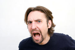 Evil man shouting Stock Image