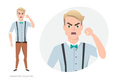 The evil man threatens with his hand. Angry men. Negative Emotions. Bad Days. Bad Mood Stressful men Stock Photography