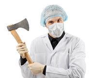 Evil medic holding a big axe Stock Photos