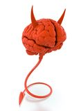Evil mind. 3D render of red devil brain on white background Royalty Free Stock Photo