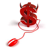 Evil money on line Royalty Free Stock Photo