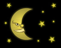 Evil Moon. Vector illustration of moon profile Royalty Free Stock Images