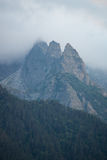Evil mountains in fog at night Royalty Free Stock Photography