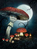 Evil mushroom with skulls Stock Photo